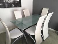 **REDUCED** Frosted Glass Dining Table & 6 Leather Effect Dining Chairs