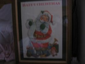 Walnut frame - for collectible and antique pictures - with added Father Christmas