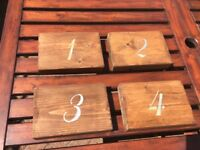 Handmade wooden table numbers for weddings or parties