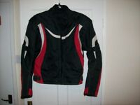 motorcycle jacket red/ white and black
