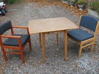 FOLDING FORMICA TOPPED TABLE AND TWO CHAIRS IDEAL BEDSIT ETC.
