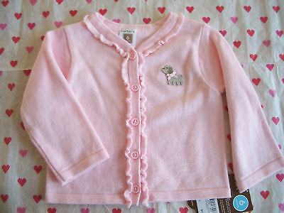 CARTERS PINK SWEATER GIRLS 6 MONTHS NWT TOO CUTE PUPPY