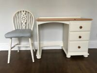 Small Cream Desk With Chair And Cushion