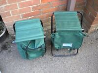 2 ROLSON FOLDING BACK PACK SEAT AND BAG FOR CAMPING OR DAYS OUT UNUSED 19X8 INCHES