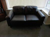 Next leather chocolate brown 2 seater sofa/settee