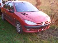 2003 peugeot 206 1.1 lx, 2 door in red, breaking for cheap parts only.