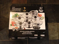16 piece stainless steel cooking set (pots, pans, colander/steamer)