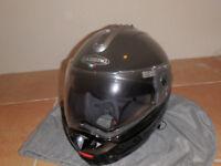 Motorcycle bundle - unused flip face helmet, leather trousers, rucksack and waterproof gloves