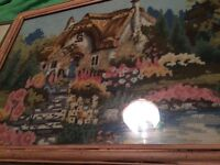 Vintage tapestry pictures x2