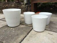 4 White plant pots