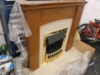 Oak effect electric fire suite