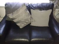 **FREE TO COLLECT** Faux black leather sofas