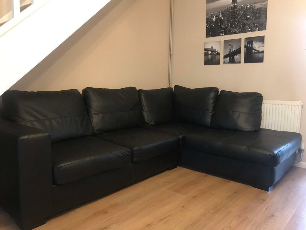 Pleasing Black Leather Corner Sofa In Longwell Green Bristol Gumtree Forskolin Free Trial Chair Design Images Forskolin Free Trialorg