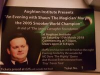 Shaun Murphy snooker exhibition night 14th Apr 2018 in aid of Jamie Carragher 23 Foundation