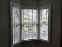 3 white faux wood blinds. Suit victorian bay window