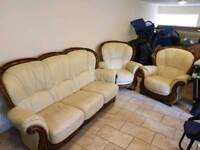 REAL Italian leather cream suite sofa set