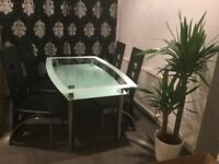 Glass Dining Table Set with 6 Leather Chairs