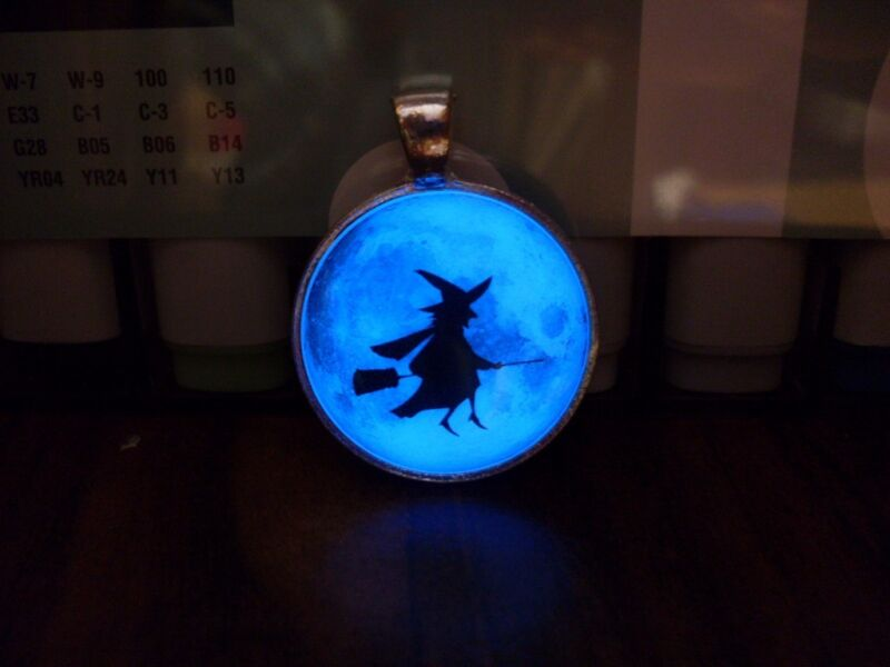 GLOW IN THE DARK FULL MOON with WITCH Halloween Necklace Charm Pendant Spooky