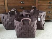 3 brown felt baskets