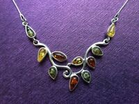 Goldmajor Sterling Silver Tri-Colour Amber Necklace - WORN ONCE from John Lewis