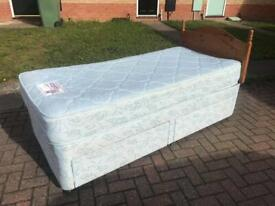 Single Divan Bed with Mattress, Draws & Pine Headboard - Delivery Available