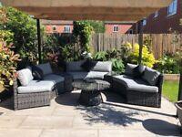 Maze rattan Grey 6pc half moon sofa set