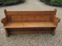 OLD PINE PEW , PERFECT FOR USING WITH KITCHEN TABLE. Delivery possible. More pews, benches & settles