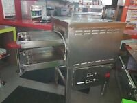 One has one double deck electric pizza oven conveyor