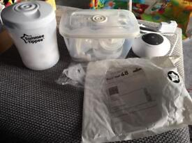 Tommee tippee electric breast pump with spare part, microwave steriliser and dummy