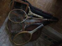 5 Vintage Dunlop and Slazenger tennis and badminton rackets