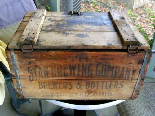 Rare Antique Pre Prohibition Star Brewing Co Wooden Shoe Beer Crate Minster Ohio