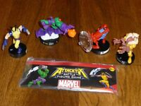 Used Attacktix Marvel Battle figure game with wolverine, green goblin, spiderman and sabre tooth