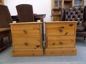 2 x Solid Pine 2 Drawer Bedside Cabinets Tables