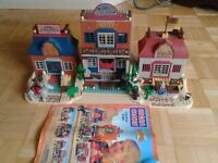 lego compatible cowboy cactus town - with instructions, figures, horses