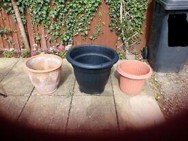 3 Large Plant Pots 2 x Plastic 1 x Terracotta Used VGC £5