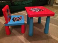 Paw patrol table and chair