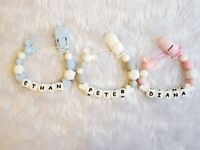 Personalised silicone dummy clip any name
