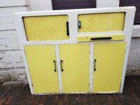 VINTAGE 1950/60s STEEL WOODEN KITCHEN STORAGE CABINET SLIDING TOP DOORS FAB DISPLAY RETRO HOME DECOR