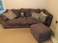3/4 seater sofa with foot stool storage box