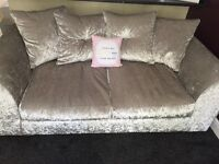 Grey silver crushed velvet 2 and 3 seater settee