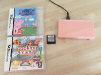 Nintendo ds lite pink with charger and 3 games