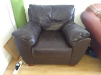 Brown leather armchair £20