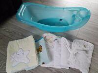 Baby stuff, bath, towels and blankets. Bundle