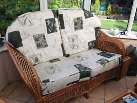Wicker Sofa and 2 Armchairs