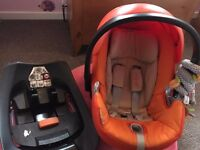 Cybex car seat Isofix Base, Pram Clips and rain cover