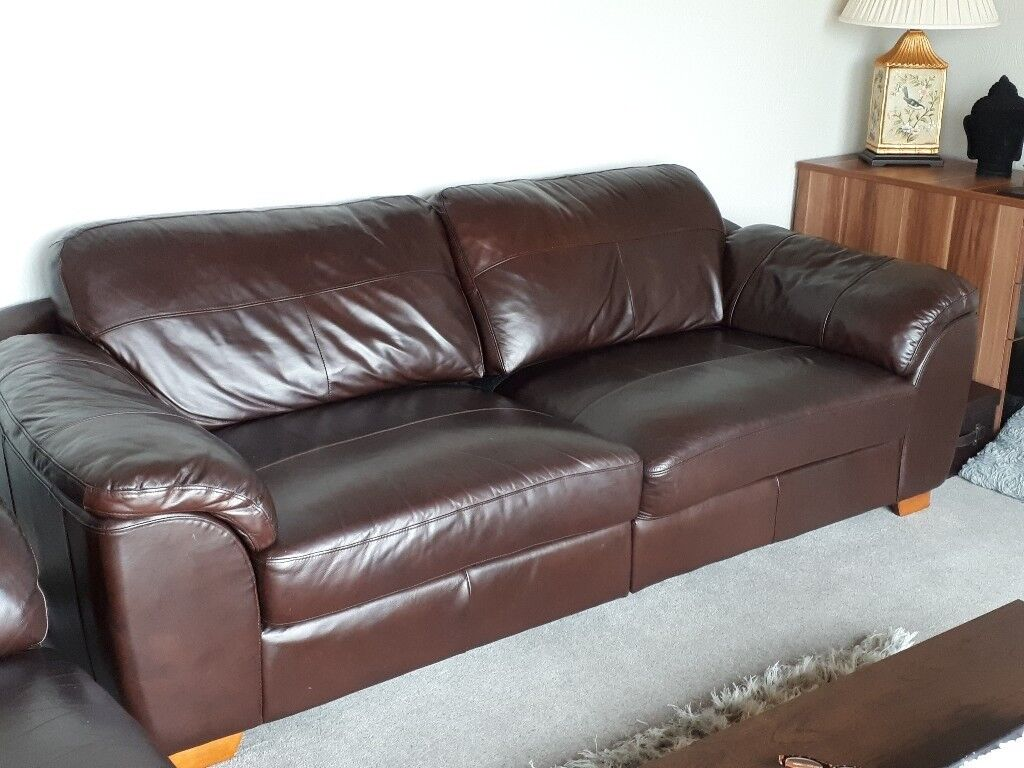 Matching Pair Of Brown Leather Sofas In Very Good Condition Will Split The