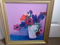 Pretty Framed Painting of Flowers.