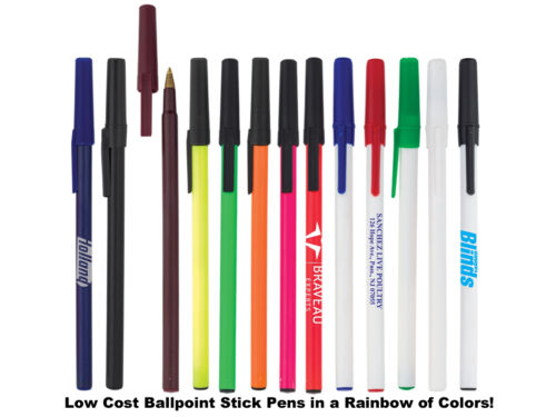 """1000 - Low Cost """"Stick"""" Style Pens Custom Printed Personalized with Your Logo !"""