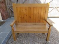 SETTLE / PEW. Two available, Delivery poss. ALSO :OLD PINE CHURCH PEWS , MONKS BENCH & CHAPEL CHAIRS