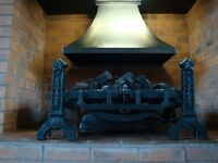 LPG Gas Fire with log effect burner with cast iron support legs in good condition.